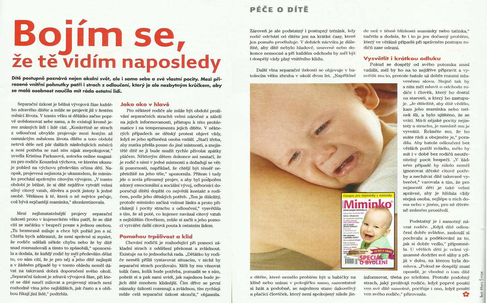 Rozhovor do časopisu Miminko